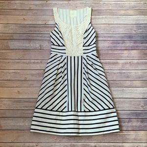 Anthropologie Maeve Lace Striped Dress